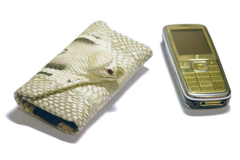 MJ - Genuine Leather Mobile Case from Cobra Skin & Gold Cell Phone CDMA inlaid Diamonds, Emeralds and Rubies
