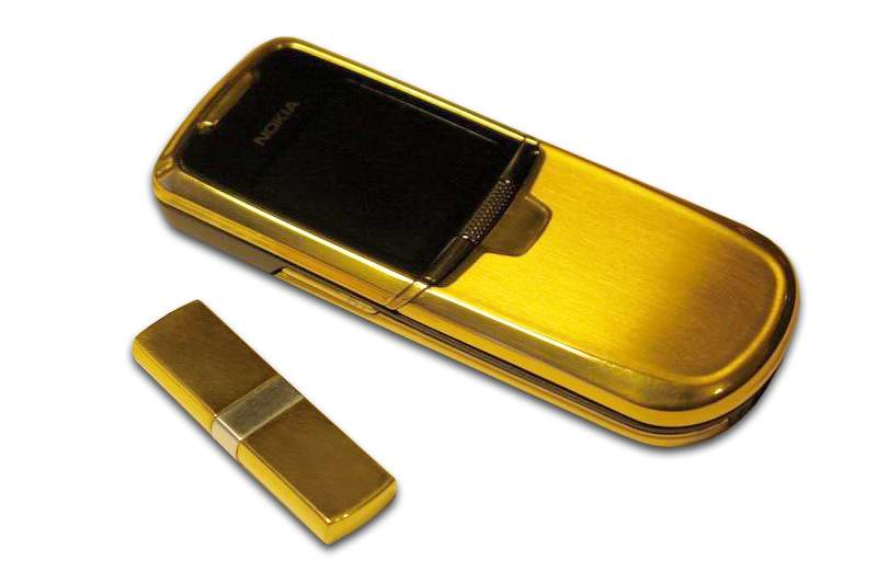 MJ - Nokia 8800 Gold Private Edition with Gold USB Flash Drive. Fancy Box from Python Leather