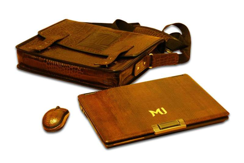 MJ - Gold Laptop Sea Snake Leather with Notebook Bag (Crocodile Skin) & Unique Bluetooth Mouse